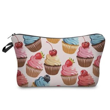 Super Sweet Colorful Cup Cakes Photo Printed Zippered Makeup Organizer Cosmetic Bag