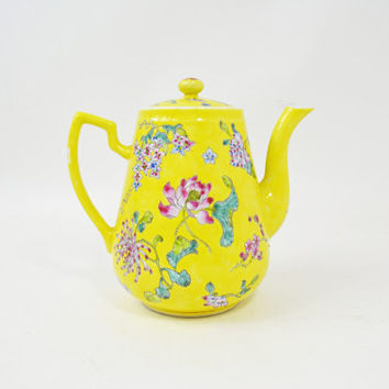 Yellow Tea Pot, Vintage Japanese Tea Pot, Porcelain Teapot, Oriental Tea Pot, Collectible Teapot, China Teapot, Japanese Coffee Pot