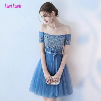 Fashion Blue Prom Gowns 2017 Sexy Prom Dresses Short Boat-Neck Tulle Appliques Lace-Up Lady Casual Party Prom Dress Custom Made