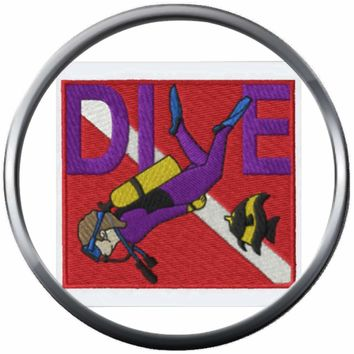 Angel Fish And Diver Red White Scuba Diver Down Dive Flag 18MM - 20MM Snap Jewelry Charm New Item