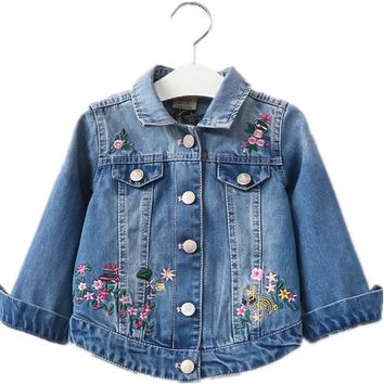 Trendy Autumn Girls Denim Jackets Coats Embroidered Flowers Lapel Cowboy Coat Denim Jacket for Baby Girl Clothes Fashion Floral Outwaer AT_94_13
