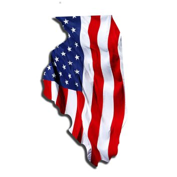 Illinois Waving USA American Flag. Patriotic Vinyl Sticker