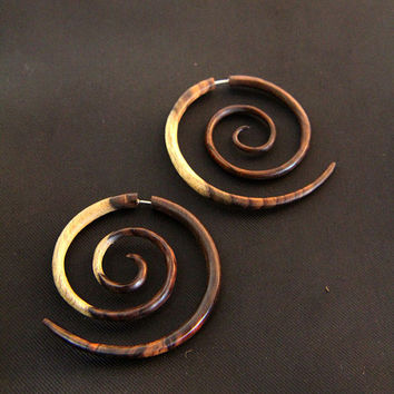 XXL Fake Gauge Earrings Multi Color Gradation Double Size Wooden Spiral Earring
