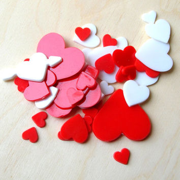 Vintage Red and White Hearts - Plastic Hearts - Vintage Plastic Shapes