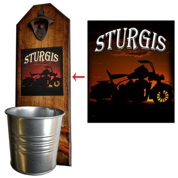 Sturgis Bottle Opener and Cap Catcher, Wall Mounted