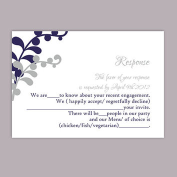 DIY Wedding RSVP Template Editable Text Word File Download Printable RSVP Cards Leaf Rsvp Navy Blue Rsvp Card Template Silver Rsvp Card