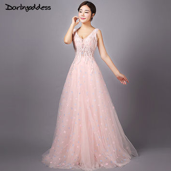 Vestido De Festa Luxury Light Pink Lace V-neck Long Evening Dress High Quality See Through Beading Sexy Backless Prom Dresses