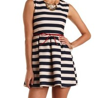 Navy Combo Belted & Striped Skater Dress by Charlotte Russe