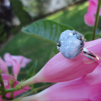 Druzy Agate With Pyrite Silver Ring/Modern Boho/Crushed Pyrite/