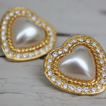 Gold Heart Earrings, Pearl, SIgned Earrings, Bridal Love Heart Wedding