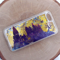 Hogwarts Twilight Gold Glitter iPhone Case