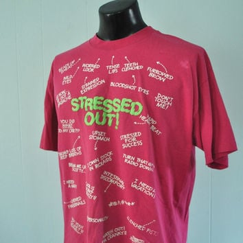 Vintage Stressed Out TShirt Humor Magenta Neon Green Puffy Paint Pink Loud Electro Punk Tee XL