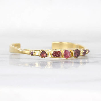 raw garnet cuff | rough ruby bracelet | raw ruby cuff | rough garnet bracelet | spinel cuff | january birthstone cuff | july birthstone cuff