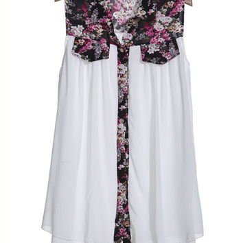 'The Malavika' Floral Chiffon Sleeveless Blouse