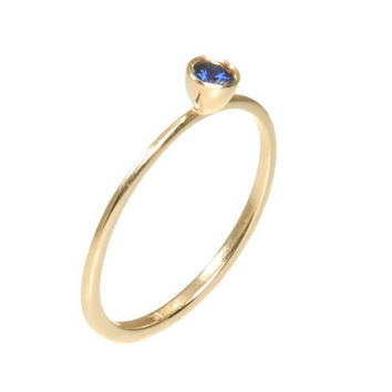 Tiny Sapphire Engagement Ring - 0.11 Carat Round Blue sapphire - 14k Gold.