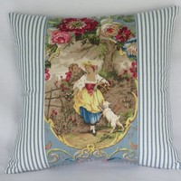 """Fragonard Cameo Toile Pillow Cover, Richloom Cornflower Blue, Lady w/ Dog, 17"""" Sq.  Blue Ticking Stripe, French Country Fabric"""