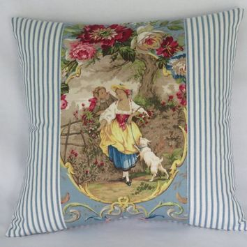 "Fragonard Cameo Toile Pillow Cover, Richloom Cornflower Blue, Lady w/ Dog, 17"" Sq.  Blue Ticking Stripe, French Country Fabric"