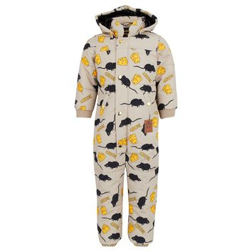 Beige Waterproof Cheese & Mouse Puffa Snowsuit