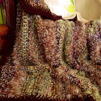 Rustic Decor,Thanksgiving,Crochet Afghans for Sale,Gift for Him,Weighty Blanket,Neutral Tones,Plum,Gold,Autumn Hues
