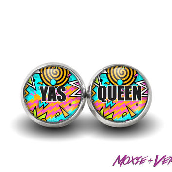 Broad City Earrings, Yas Queen, 90s Grunge, 90s Jewelry, Stud Earrings, Glass Earrings, Feminist Jewelry, Feminism