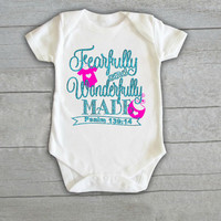 Fearfully & Wonderfully Made Baby Onesuit Newborn CHOOSE any COLOR coming home outfit psalm scripture bible love