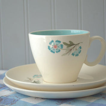 Mid Century Blue and White Floral Teacup, Saucer and Luncheon Plate  - Taylor and Smith Forever Yours Boutonniere Pattern