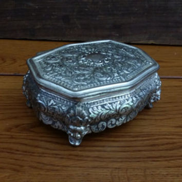 Vintage Silver Toned Trinket Box With Red Velvet Lining Perfect for Jewelry Storage Gift Giving Proposal