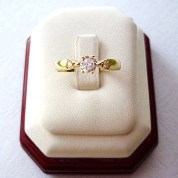 Vintage Solitaire One-stone Engagement Ring, 14K Yellow Gold Jewelry, Free Shipping to eu, us, can