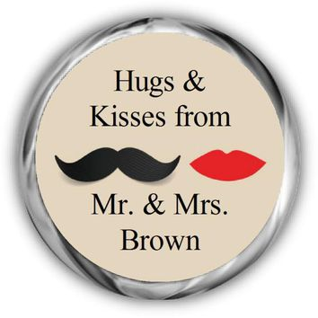 Mustache Lips Personalized Wedding Kisses Stickers