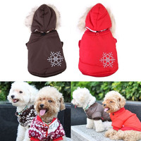 Warm Small Dog Pet Coat Winter Outercoat Snowflake Hoodie Clothes Apparel = 1931445764