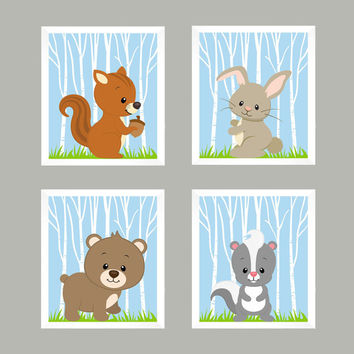Woodland Animals, Forest Animals on Powder Blue CUSTOMIZE COLORS, 8x10 Prints, set of 4, Nursery Decor, Animal Print, Baby Boy Wall Prints