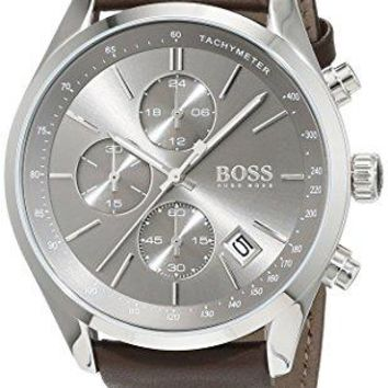 Hugo Boss Mens 1513476  Grand Prix Chronograph Brown Leather Band Watch