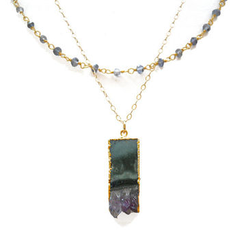 Amethyst Slice Necklace with Iolite Rosary Chain