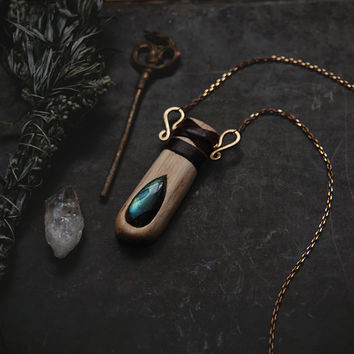 virva • blue labradorite necklace - wood inlay labradorite pendant - woodland witch necklace - finnish jewelry - wood crystal necklace