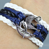 Hunger Games Bracelet---Antique Brass Mocking Jay Pendant Bracelet & Multistrand Braid and Wax Cords Chain