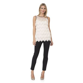 Merry in Mesh Fringe Top in Cream by Sail to Sable
