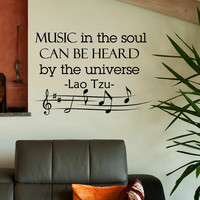 Wall Decal Music Quote - Vinyl Lettering Music In The Soul Can Be Heard By The Universe Lao Tzu Quotes Art Home Decor Q003