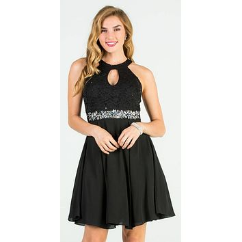 La Scala 25169 Sleeveless Halter Fit and Flare Dress Short Black