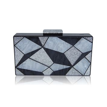 Black 3D Geometrie Acrylic Box Clutch-Milanblocks