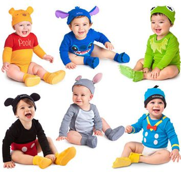 Retail Spring Baby Romper Newborn Jumpsuit Clothing Infants Cartoon One-Pieces + Cap Long Sleeve Roupas De Bebe Body Clothes