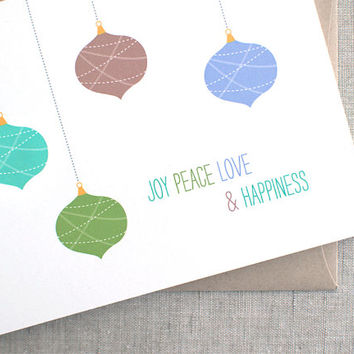 Joy, Peace, Love, Happiness - Happy Holidays Card - Rustic Ornaments, Recycled Card, Custom Christmas Cards