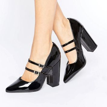 New Look | New Look Double Strap Heeled Court Shoe at ASOS