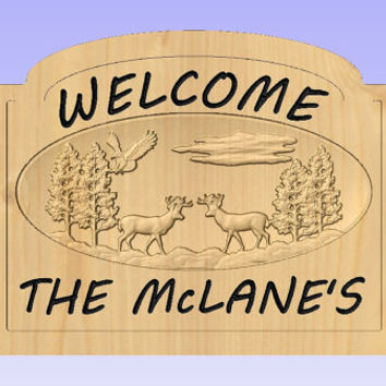 Personalized Welcome Sign - Custom 3D Wood Welcome Sign - Family Name Welcome Sign - Deer Welcome Sign