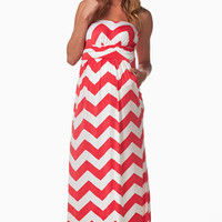 Pink-White-Chevron-Maternity-Maxi-Dress