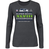 Seattle Seahawks Super Bowl XLVIII Champions Women's Trophy Collection Locker Room Long Sleeve T-Shirt - Charcoal