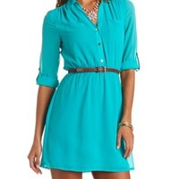 Three-Quarter Sleeve Belted Chiffon Shirt Dress - Teal