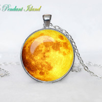 Full Moon Necklace Moon Pendant Galaxy  Space  Orange Yellow Red Moon  Jewelry Necklace for men  Art Gifts for Her (P11H01V03)