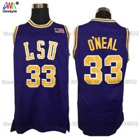 2017 Men Dwayne Shaquille O'neal Cheap Throwback Basketball Jersey Shaq Oneal #33  LSU Tigers College Jerseys Retro Shirts