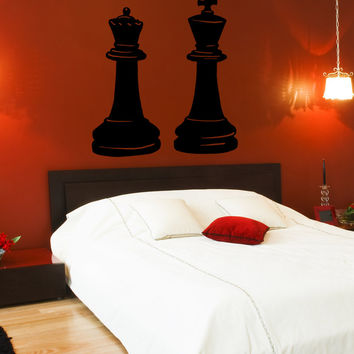 Vinyl Wall Decal Sticker King and Queen Chess Pieces #OS_MB666