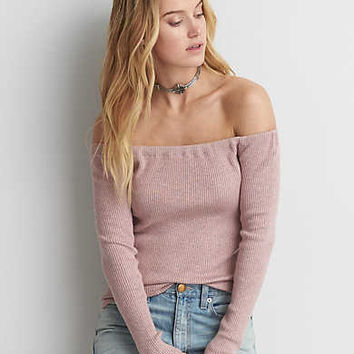 AEO Off-The-Shoulder Ribbed Sweater, Plum